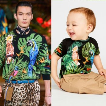 Dolce & Gabbana Baby Boys Mini Me Black Cotton Parrots T-Shirt Runway