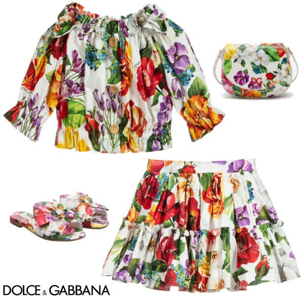 Dolce & Gabbana Girls Mini Me Blooming Floral Print Cropped Blouse Skirt Purse Spring 2020