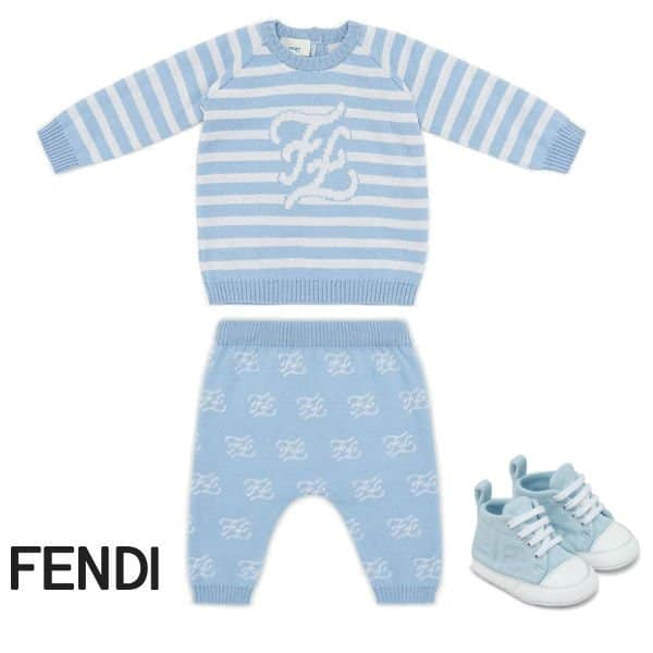 Fendi Baby Boy Blue Stripe FF Logo Sweater Pants
