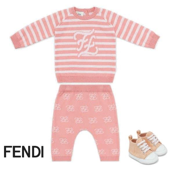 Fendi Baby Girl Pink Stripe FF Logo Sweater Pants