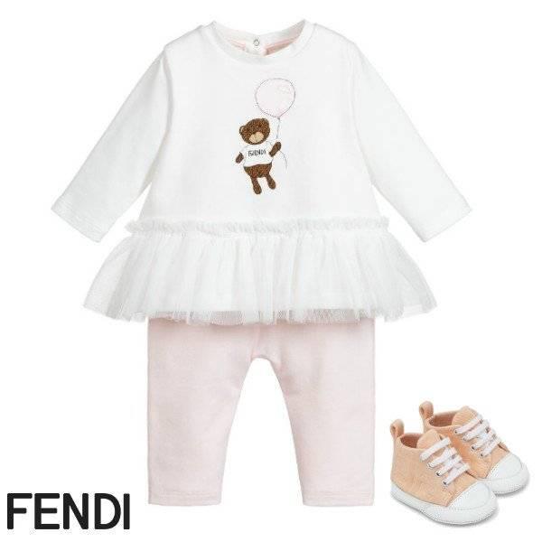 Fendi Baby Girl White & Pink Bear Balloon Babygrow Spring 2020