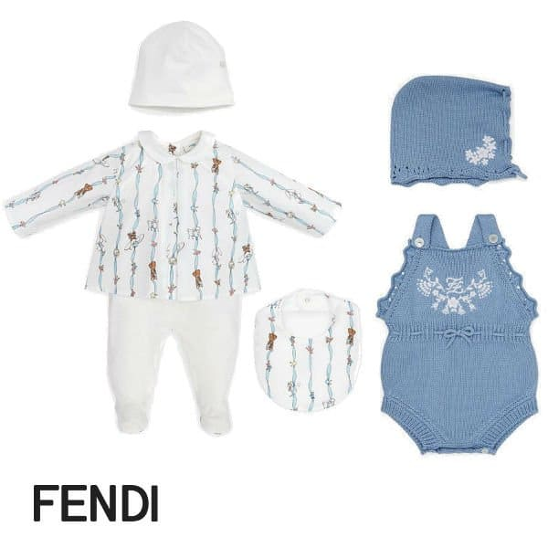 Fendi Baby Girl White Print Onesie Blue Cashmere Playsuit Bonnet Set