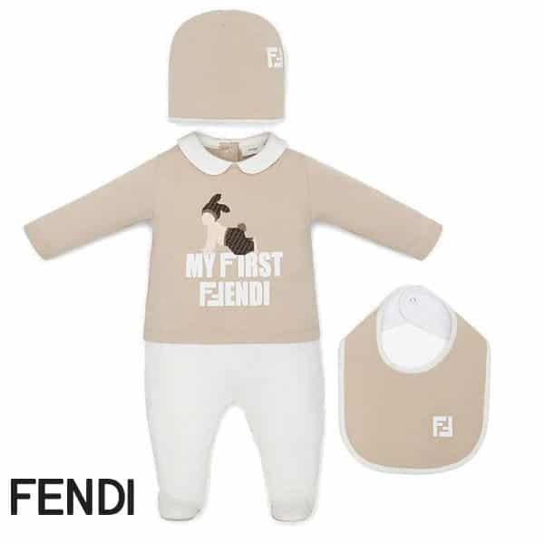 Fendi Baby My First Fendi Beige Onesie Gift Set Spring 2020