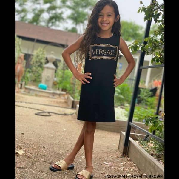 Royalty Brown - Young Versace Girls Black Shift Logo Dress