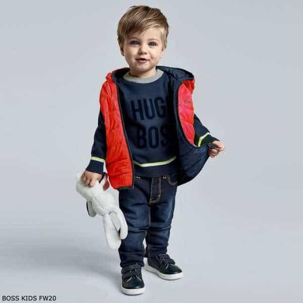 BOSS Kids Little Boys Red & Blue Reversible Hooded Down Vest