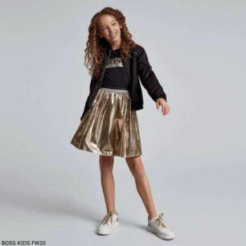 BOSS Kids Girls Black Logo Shirt Metallic Gold Skirt