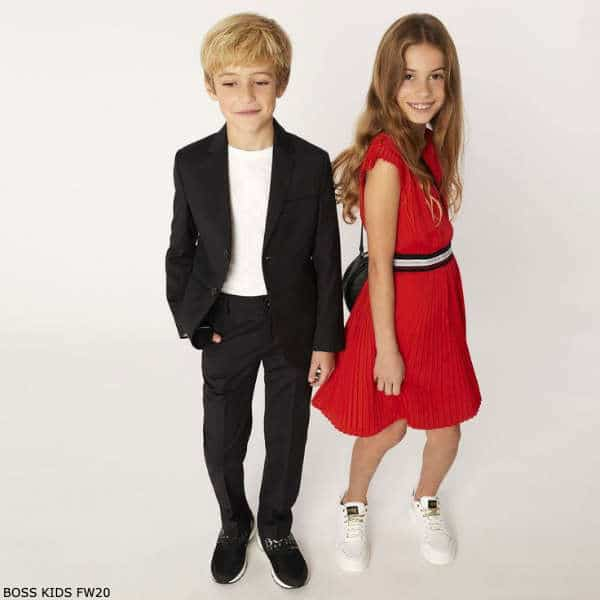 BOSS Kids Girls Red Pleated Dress Boys Navy Blue Suit