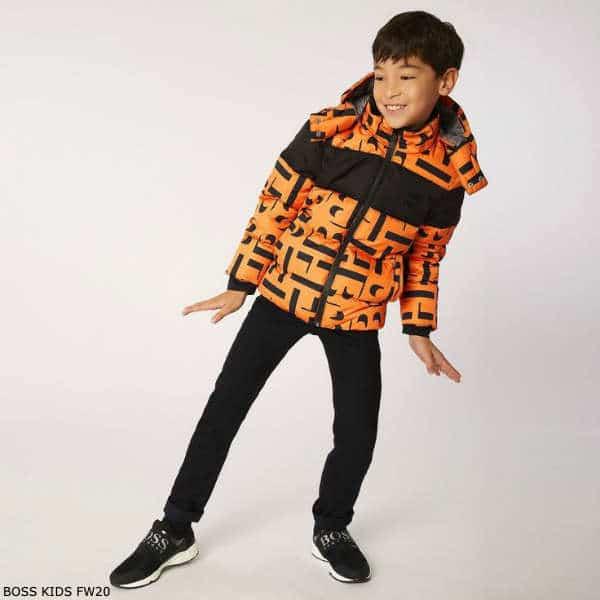 BOSS Kids Boys Orange Black Logo Down Puffer Jacket