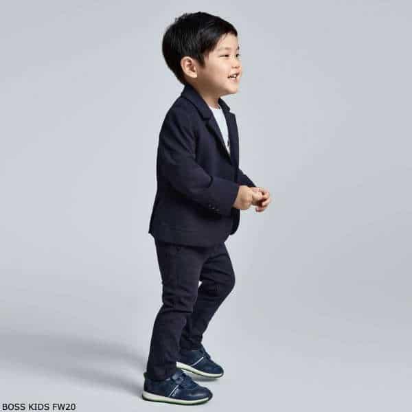 BOSS Kidswear Baby Boys Navy Blue Cotton Suit