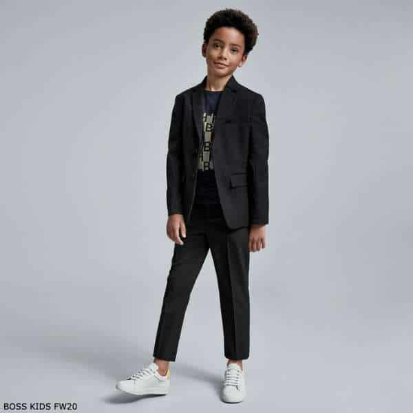 BOSS Kidswear Boys Mini Me Navy Blue Suit Long Sleeve Logo Tshirt