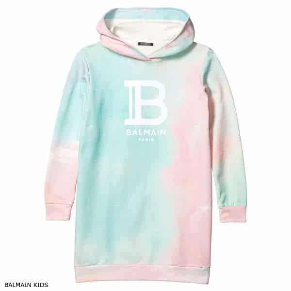 Balmain Girls Pink & Blue Tie Dye Hooded Sweatshirt Dress