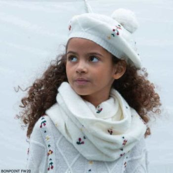 Bonpoint Girls Wool Alpaca White floral Embroidery Cable Knit Sweater