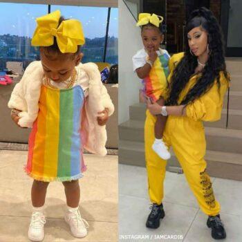 Cardi B's Daughter Kulture Cephus Stella McCartney Girls Rainbow Striped Denim Dress