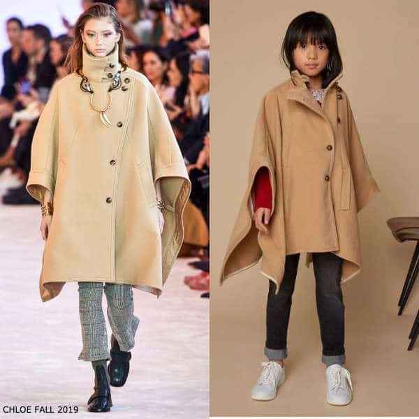 Chloe Girls Mini Me Beige Wool & Cashmere Cape