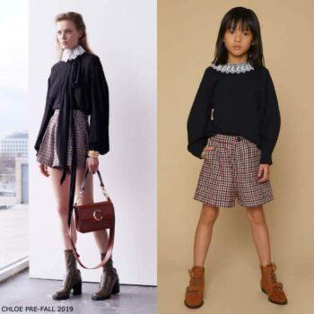 Chloe Girls Mini Me Black White Lace Collar Sweater Red Black Check Shorts