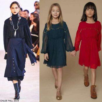 Chloe Girls Mini Me Dark Green Silk Chiffon Gold Metal Beads Dress