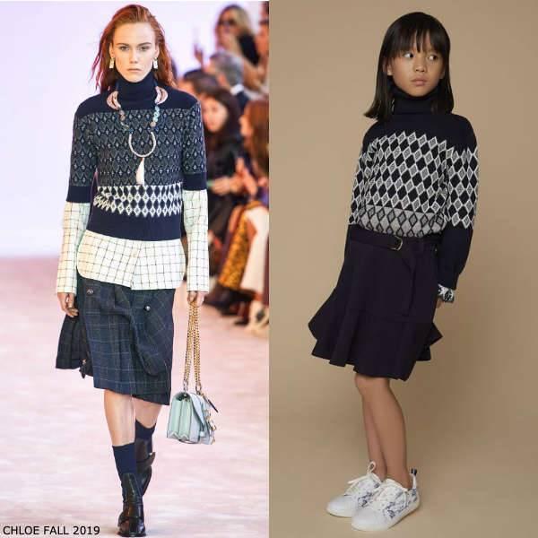 Chloe Girls Mini Me Blue White Knitted Diamond Pattern Roll Neck Sweater