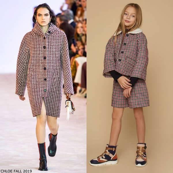 Chloe Girls Mini Me Red Black Ivory Check Wool Blend Jacket