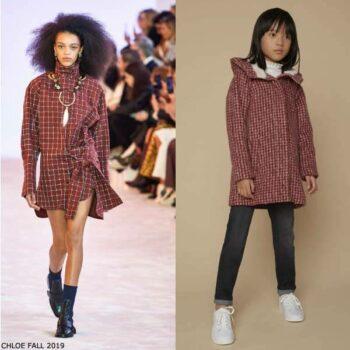 Chloe Girls Mini Me Red & White Houndstooth Check Alpaca Wool Coat