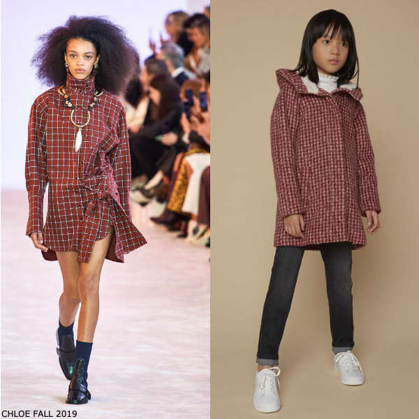 Chloe Girls Mini Me Red & White Houndstooth Check Alpaca Wool Coat
