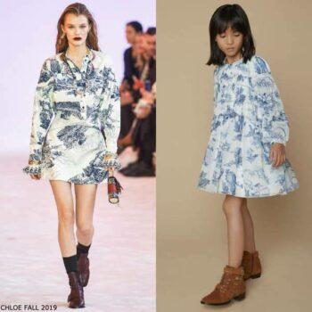 Chloe Girls Mini Me White Blue Floral Print Chiffon Silk Dress