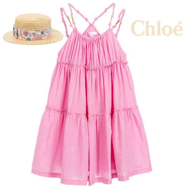 Chloe Girls Pink Pleated Knotted Strap Sun Dress