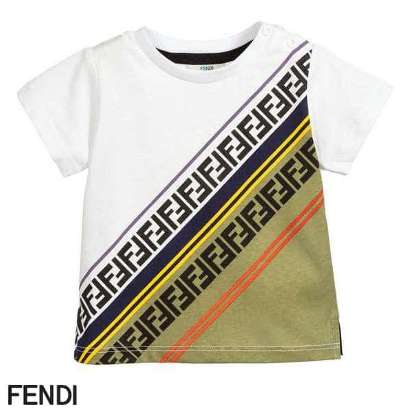 Fendi Baby Boy White Diagonal FF Logo T-Shirt