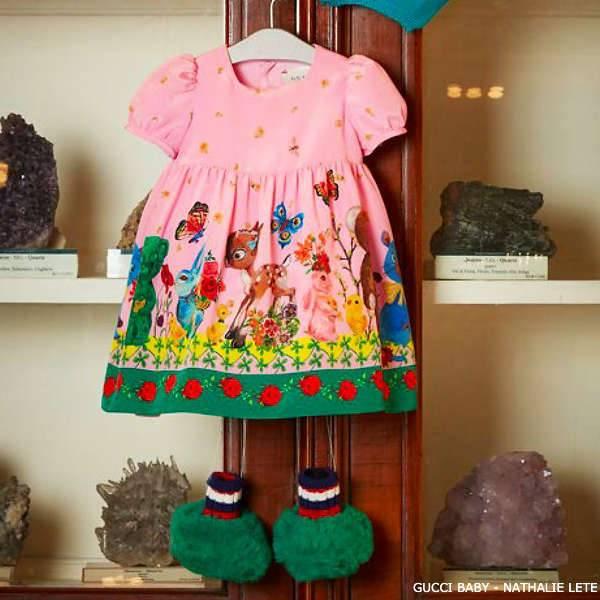 Gucci Baby Pink Animal Artist Print Dress by Nathalie Lete