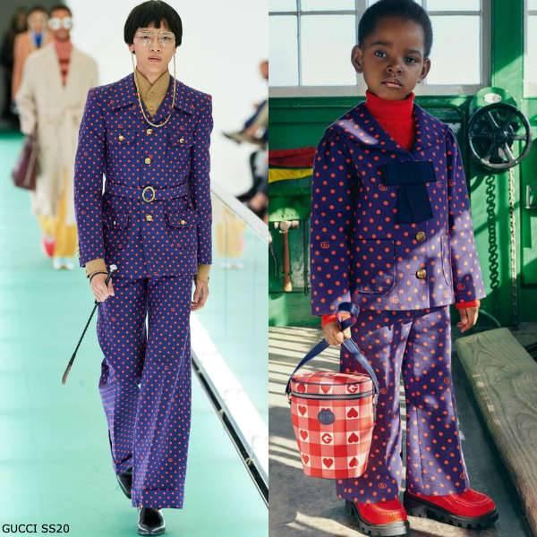 Gucci Girl Mini Me Blue Red Polka Dot Blazer Jacket Pants