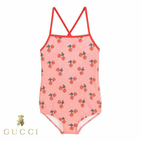 Gucci Girls Pink Cherry Print Swimsuit