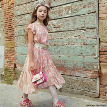 Monnalisa Chic Girls Long Pink Ivory Floral Print Chiffon Dress
