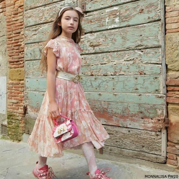 Monnalisa Chic Girls Long Pink Ivory Floral Print Chiffon Dress