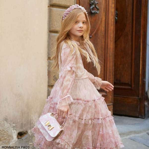 Monnalisa Chic Girls Long Pink Floral Print Tulle Dress