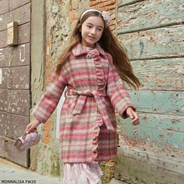 Monnalisa Chic Girls Pink & Grey Check Wool Tweed Coat