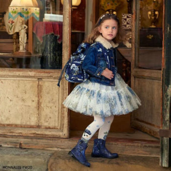 Monnalisa Girls Blue & Ivory Floral Print Tulle Party Dress