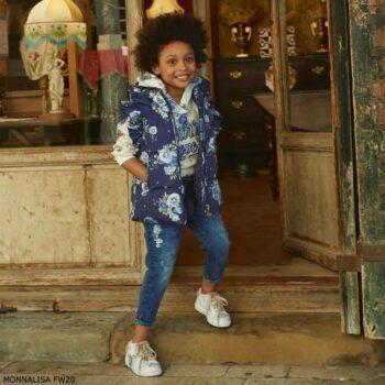 Monnalisa Girls Navy Blue Floral Vest White Paris Love Hoodie Sweatshirt