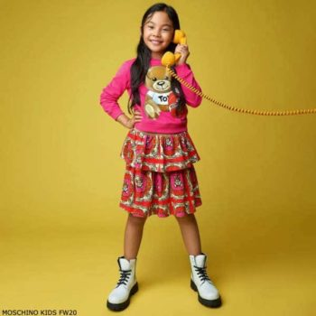 Moschino Kids Girls Pink & Red Teddy Logo Sweatshirt Pink Gold Chain Skirt