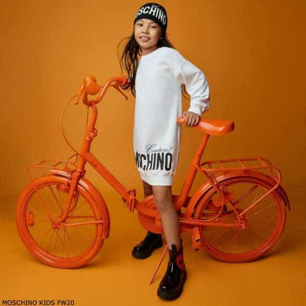 Moschino Kids Girls White Couture Logo Sweatshirt Dress