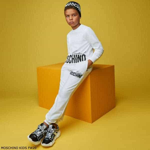 Moschino Kids Boys White Mini Me Couture Logo Sweatshirt & Joggers