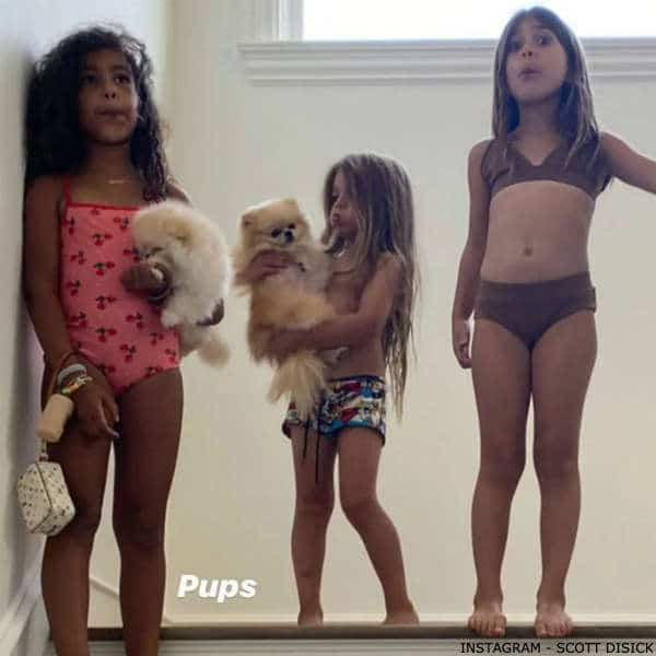 North West Penelope Disick Gucci Girls Pink Cherry Print Swimsuit