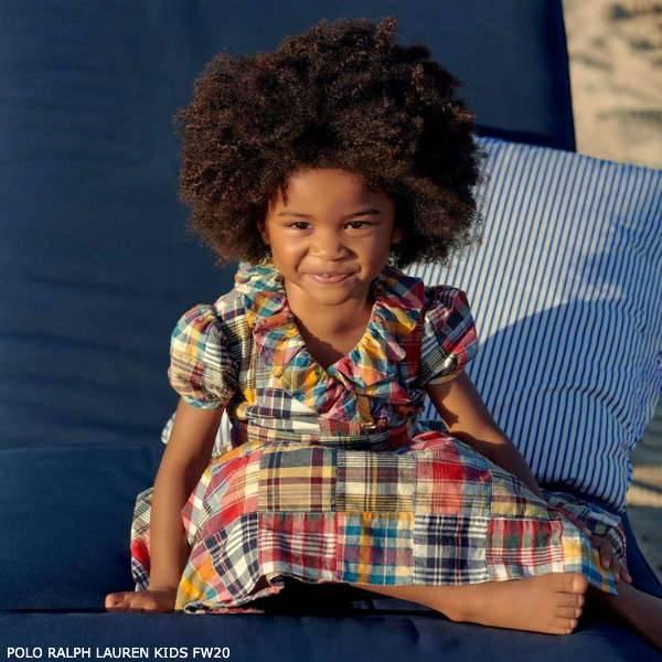 Polo Ralph Lauren Girls Red Yellow Blue Patchwork Check Cotton Dress