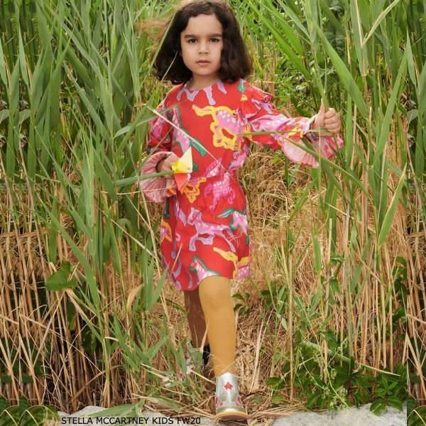 Stella McCartney Kids Girl Red Pink Viscose Horse Print Dress