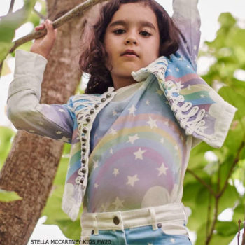 Stella McCartney Kids Girls Blue Rainbow Denim Military Jacket