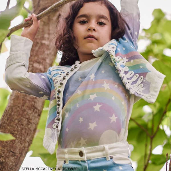 Stella McCartney Kids Girls Blue Rainbow Denim Military Jacket