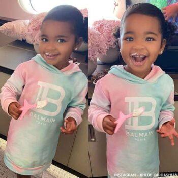 True Thompson - Balmain Girls Pink Blue Tie Dye Hooded Sweatshirt Dress