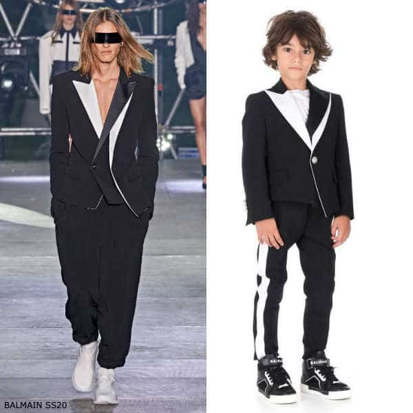 Balmain Boys Mini Me Black White Blazer Jacket