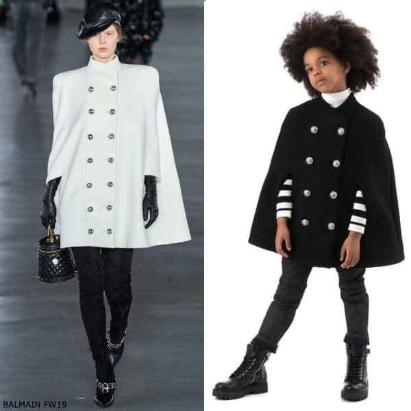 Balmain Girls Mini Me Black Double Breasted Wool Cape Coat