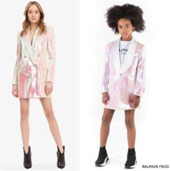 Balmain Girls Mini Me Pink Sequin Blazer Jacket