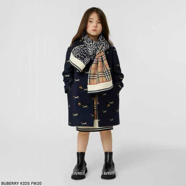 Burberry Girls Navy Blue Unicorn Pattern Double Breasted Wool & Silk Coat