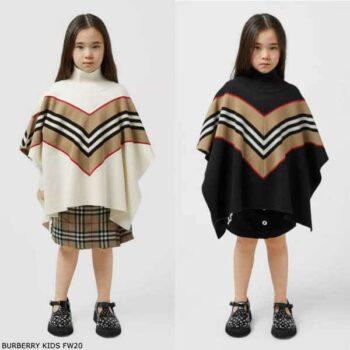 Burberry Girls Ivory Black Wool Icon Stripe Poncho
